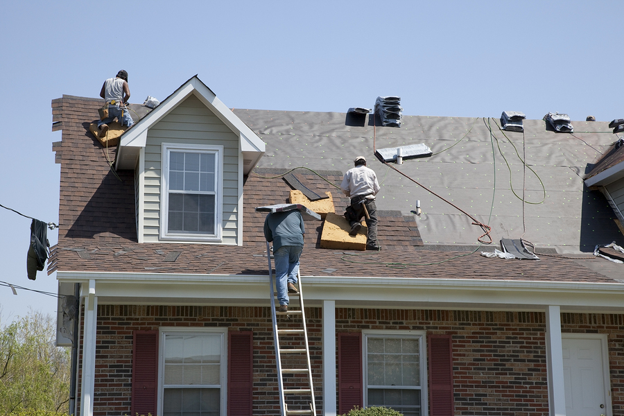 roofing expert doing roof repair