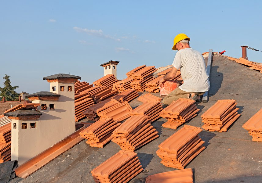 this image shows clay tile roof installation in chino hills