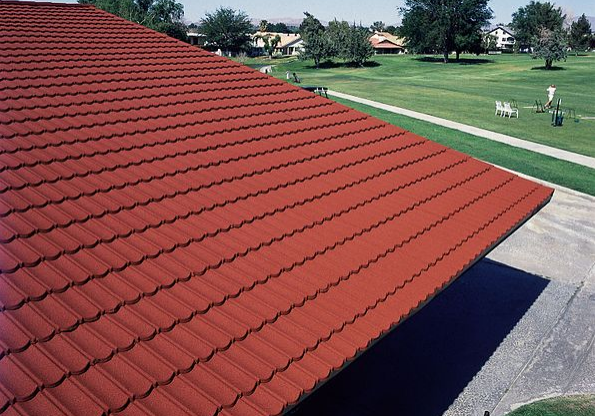 A picture of metal shingles roof in Chino Hills.